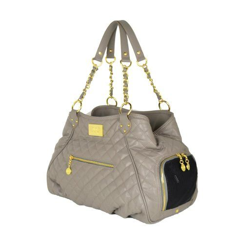 Dog Carrier - taupe quilted