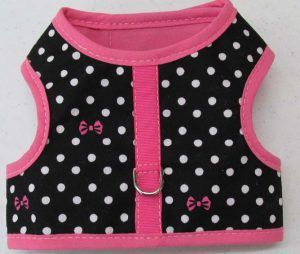 Velcro Vest Dog Harness-Black-with-Dots-and-Bows-Pink-Trim