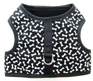 Velcro Vest dog Harness-Black-with-White-Bones