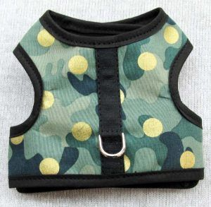 Velcro Vest dog Harness-Camo-with-gold-sparkle-dots.