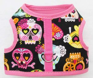 Dog-velcro vest Harness-Skulls-on-Black-Pink-Trim