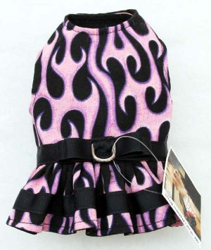 Harness Dog Dress-Pink-Flames