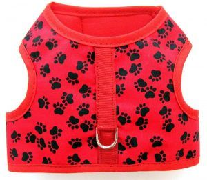 Velcro Vest dog Harness-Red-with-Black-Paws-Red-Bindin