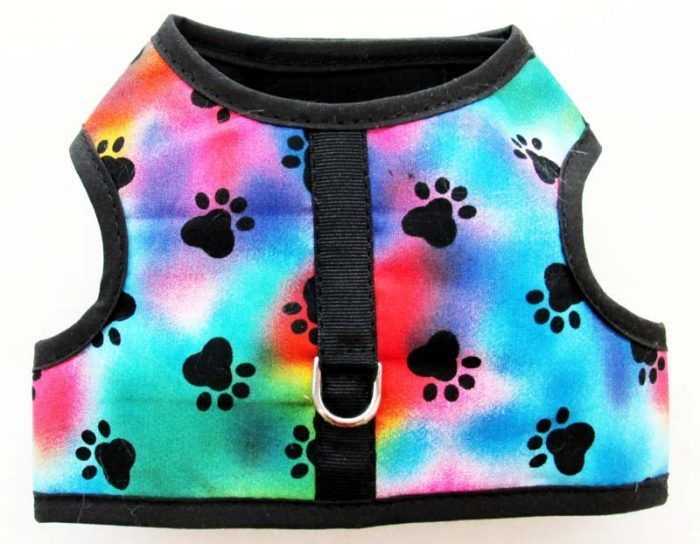 Velcro Vest dog Harness-Tie-Dye-Paws-with-Black-Binding.