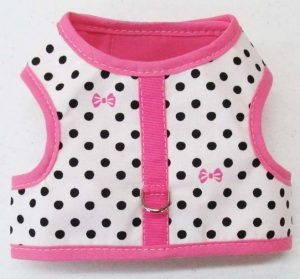 Velcro Vest dog Harness-White-with-Black-Dots-and-Bows-with-Pink-Binding.