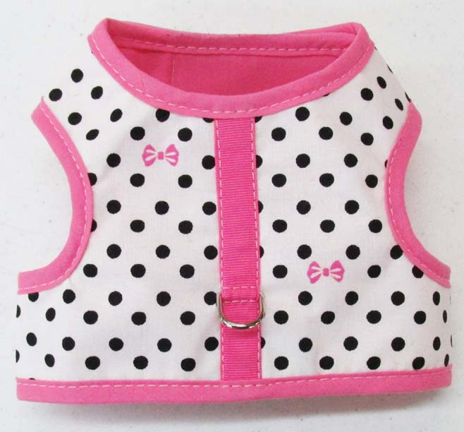 Harness-White-with-Black-Dots-and-Bows-with-Pink-Binding.
