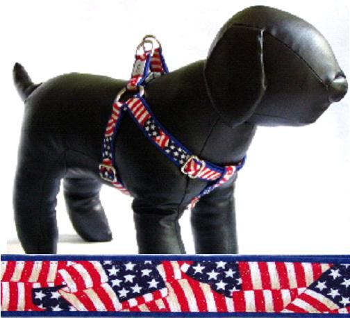 Patriot fabric dog harness Cutie Collars