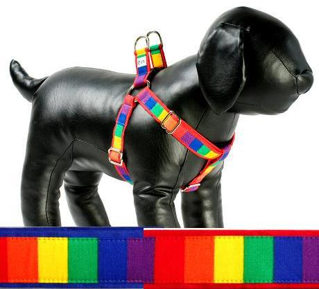 Rainbow fabric dog harness Cutie Collars