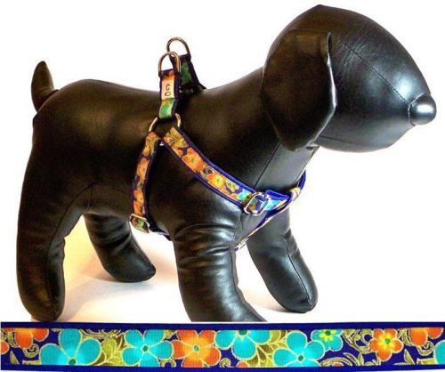Shalimar Flowers fabric dog harness Cutie Collars