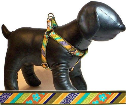 Shalimar Stripe fabric dog harness Cutie Collars