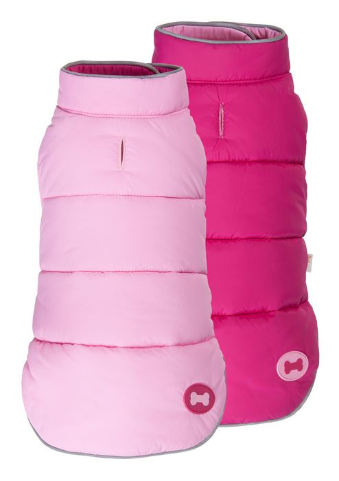 Hot Pink Reversible Bone Puffer dog coat by Fab Dog