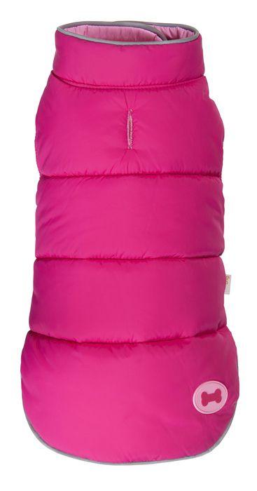 Hot Pink Pink Reversible Bone Puffer dog coat by Fab Dog