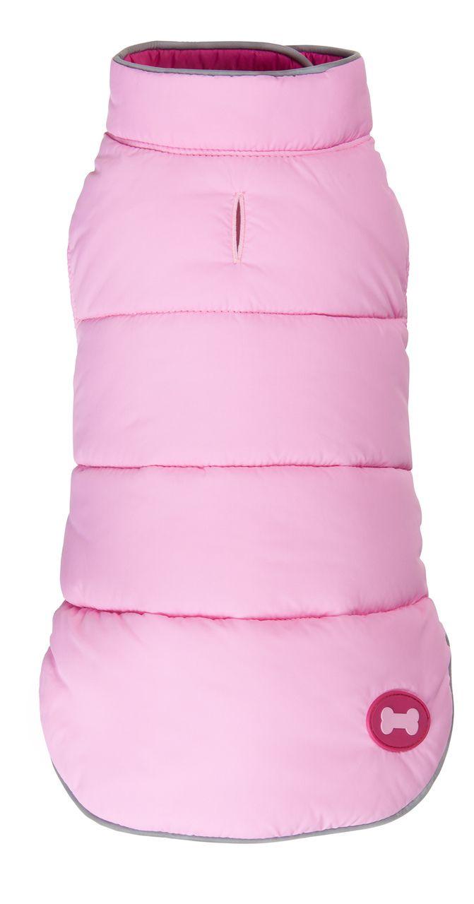 Hot Pink Reversible Bone Puffer dog coat by Fab Dog