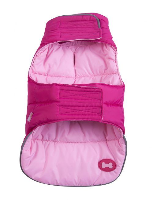 Hot Pink Pink Reversible Bone Puffer dog coat by Fab Dog