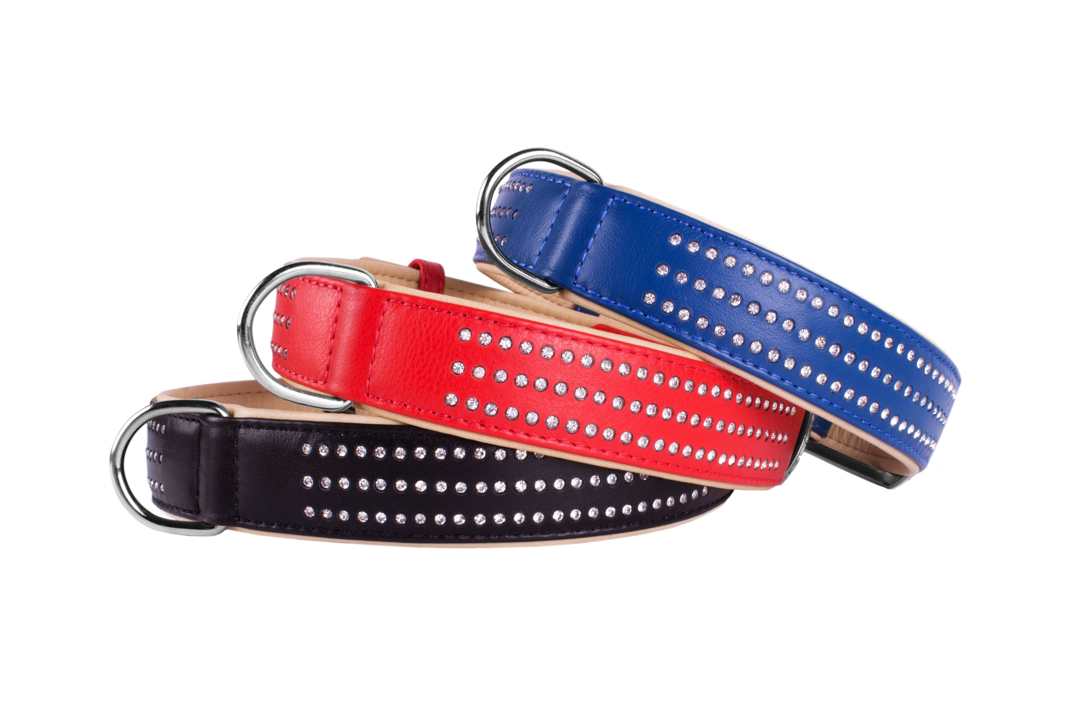 Leather Dog Collar with Crystals- colors black blue red collar