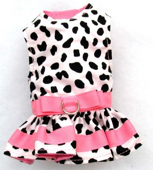 Harness Dog Dress-Cow-with-Pink-Accents
