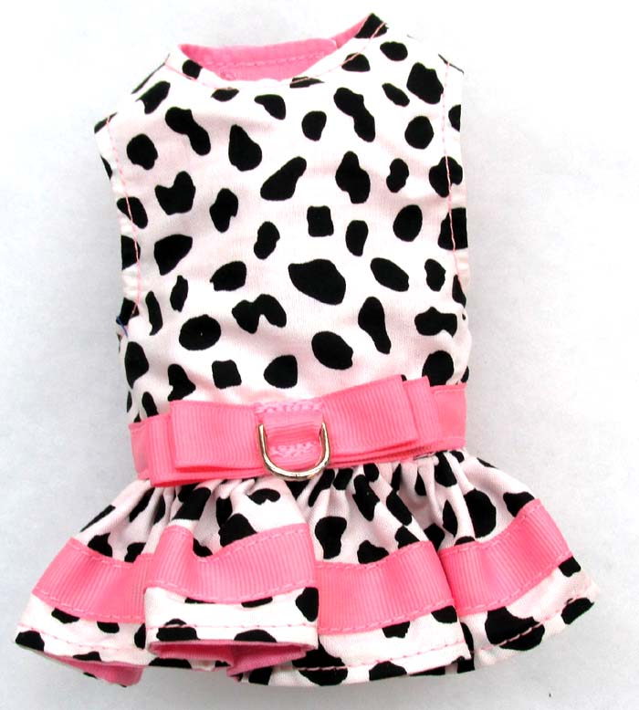 Harness Dog Dress-Cow-with-Pink-Accents 4a832b25d