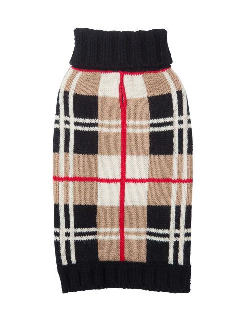 Fab Dog Tan Plaid dog Sweater by Fab Dog
