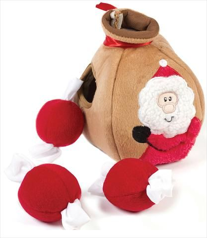 SantaGiftBag-burrow dog toy