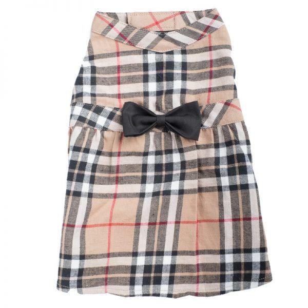 Dog Dress- tan Plaid-Dress-Burberry-like dog dress