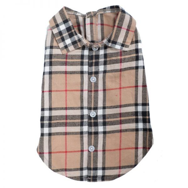 Dog Shirt- Tan Plaid Dog Shirt-Burberry-like dog shirt