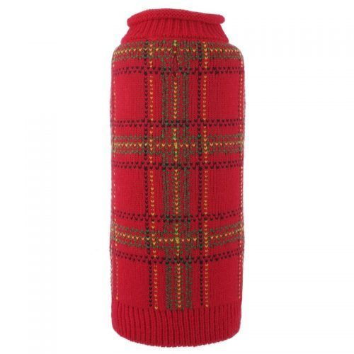 Dog-Sweater-Tartan Red