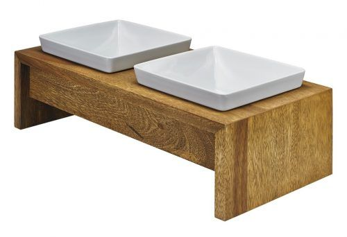 Bowsers Artisan Double Wood Feeder - bamboo