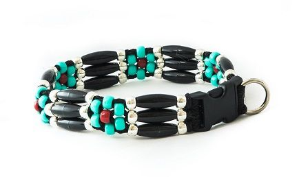 zany-zak-black-comanche-flower-dog-Collar