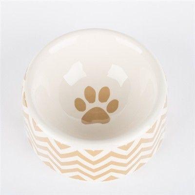 creature comfort chevron-dog bowl