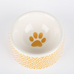 creature comfort gold-trellis-dog bowl