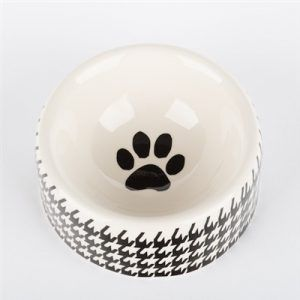 creature comfort houndstooth-dog bowl