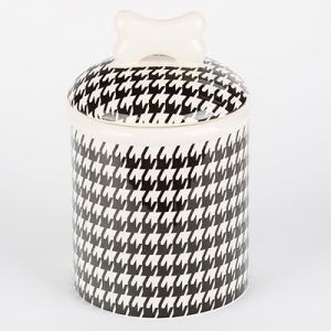 creature comfort houndstooth-dog treat jar