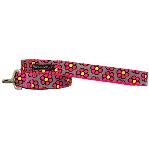 walk-e-woo daisies-pink-grey-leash lead