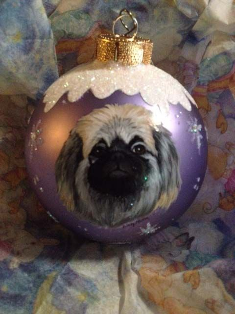 hand painted dog on gift ornament