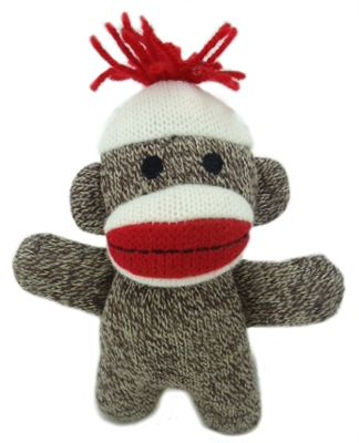 Baby Sock Monkey Kiki dog toy