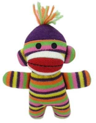 lala-sock-monkey-baby-skinny-stripe dog toy