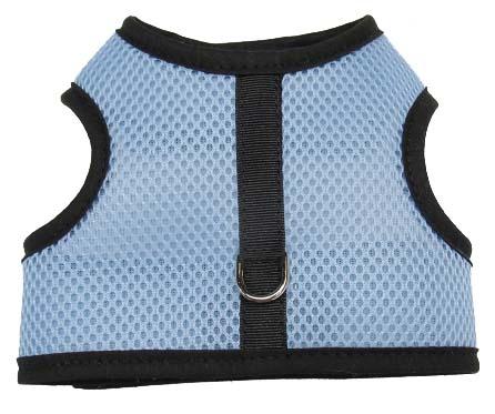 blue-mesh-black-binding velcro vest dog harness