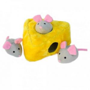 zippypaws-mice-cheese-burrow-dog-toy