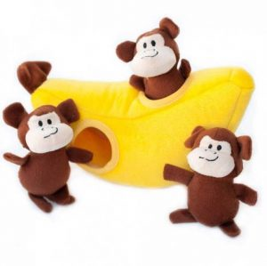 zippypaws-monkey-banana-burrow-dog-toy