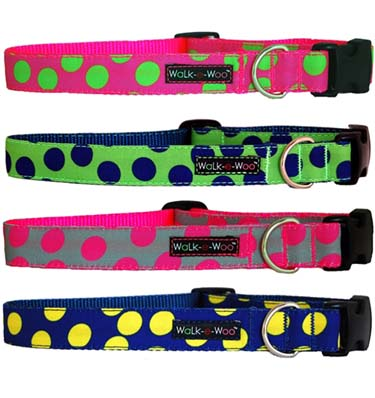 walk-e-woo neon dots dog collar