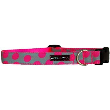 walk-e-woo-neon-dots-pink-grey-dog-collar