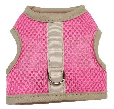 pink-mesh-beige-binding velcro-vest dog harness