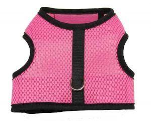 pink-mesh-black-binding velcro vest dog harness