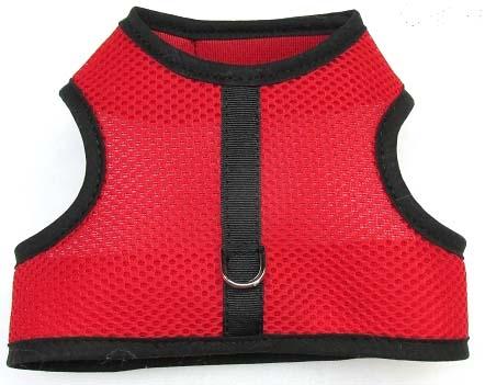 red-mesh-black-binding velcro vest dog harness