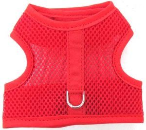 red-mesh-red-binding velcro vest dog harness
