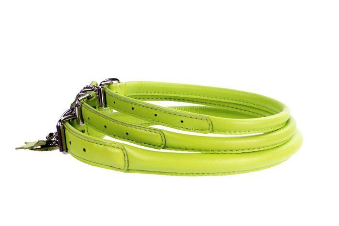 rolled-leather-dog-collar-lime