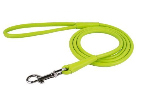 rolled-leather-dog lead-leash-lime