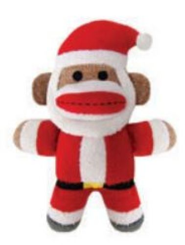 santa baby sock monkey dog toy