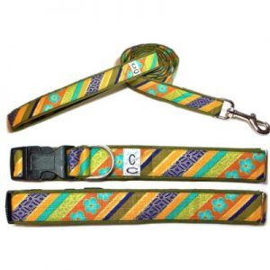 shalimar_stripe fabric dog collar Cutie collars