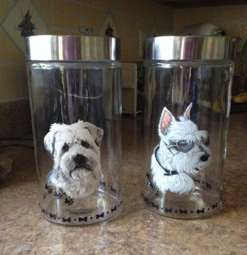 hand painted dog on treat-jars